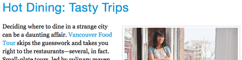 Where Magazine Features Vancouver Food Tour