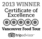 Vancouver Food Tour's Certificate of Excellence on Tripadvisor