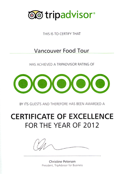 Vancouver Food Tour Earns 2012 Tripadvisor Certificate of Excellence